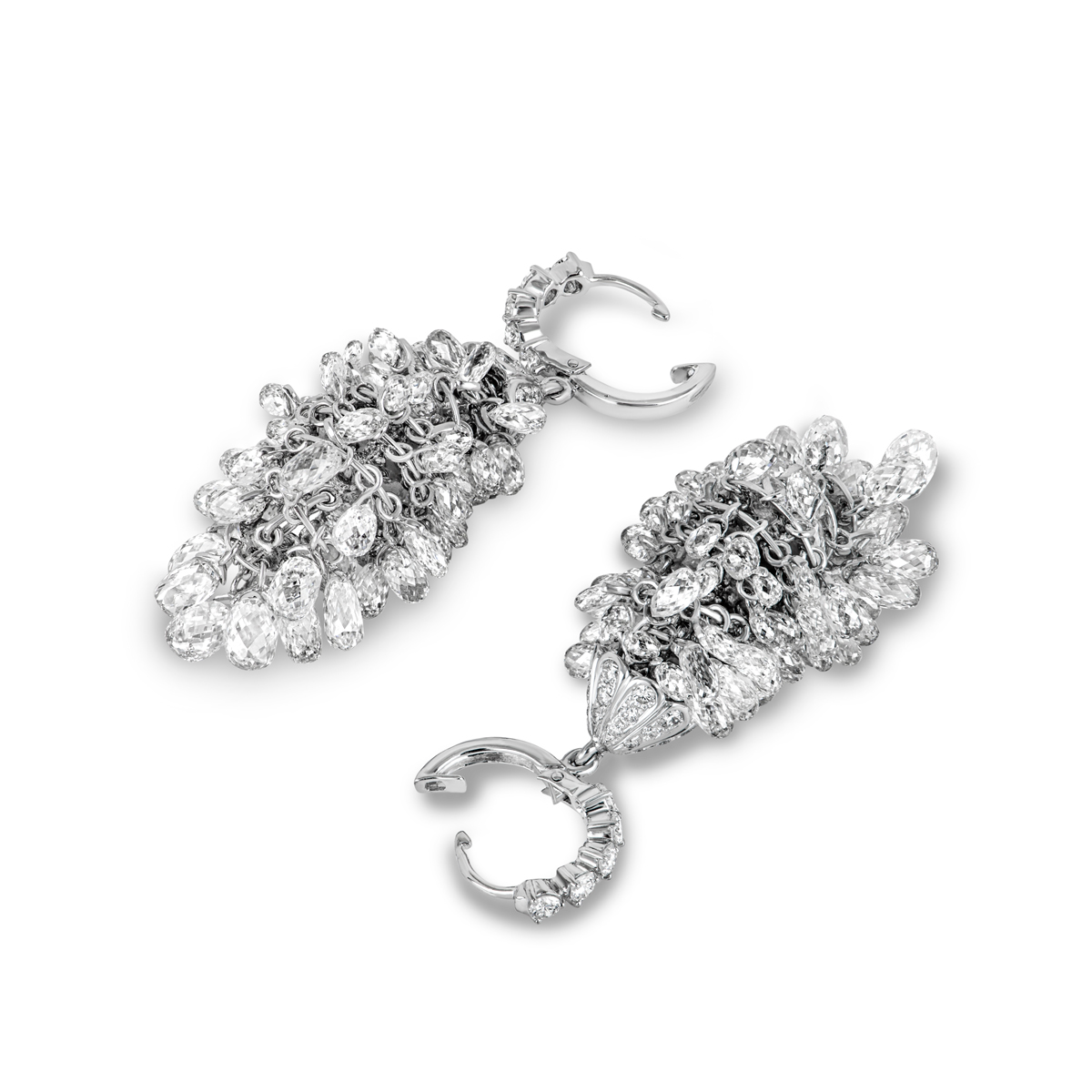 White Gold Briolette Diamonds Chandelier Earrings 34.78ct TDW